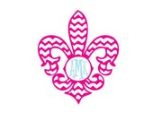 Pink and Mint Messy Chevron Fleur De Lis Monogram Vinyl Decal for Yeti Cups, Car, iPads, Computer or Whatever other Surface you can Find!!