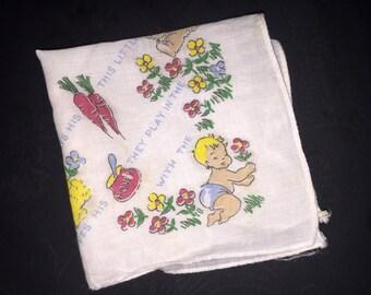Vintage Baby, Bunny, Bear Handkerchief