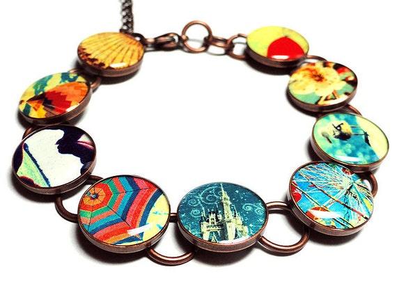 Carnival Whimsical Bracelet, Handmade, Resin Bracelet, Handmade Bracelet, Ferris Wheel, Fair, Jewelry, Hot Air Balloon, Cherry Blossoms