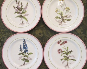 Four Vintage Salad/ Cake Plates - Primula Pottery of Italy - Herbs