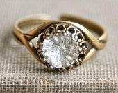 Vintage etched clear glass rhinestone adjustable ring. Tiedupmemories