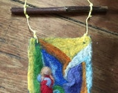 Needle felted wool tapestry with mother in red/ blue