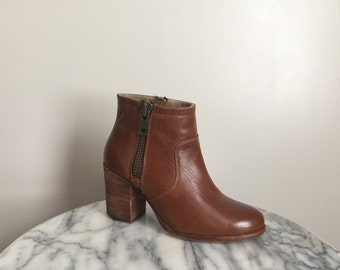 Ennis - Tobacco Brown Leather Ankle Boots. Size 6.5