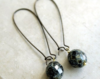 Mezzanote Drop Earrings, Picasso Glass Bead Dangle Earrings on Kidney Shaped Ear Wires