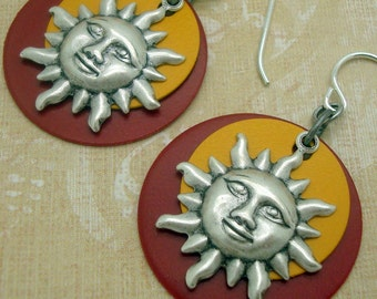 Layered Disc Earrings in the Boho Chic Style with Silver Smiling Sun in Red and Yellow