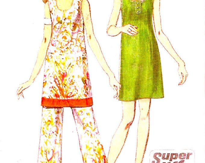 70s mini dress flared Style 2754 pants Summer retro vintage sewing pattern Simplicity 8730 Size 10 Boho Style