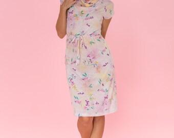 Vintage Pastel Floral Cowl Neck Dress (Size Small)