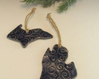 Swirly Michigan Ornament, Love Michigan Ornament,,Michigan Lower Peninsula, Blue Michigan