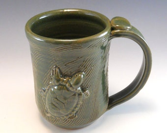 Hand Made Pottery Turtle Mug/Pottery Turtle Cup 14-16 Ounces