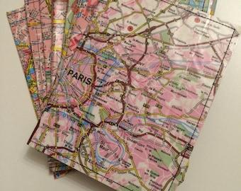 Passport Holder- Vintage map of Paris- choose 1