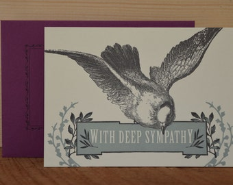 Bird Sympathy - letterpress sympathy greeting