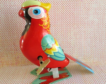 Vintage Wind Up Parrot Tin Toy