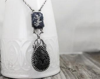 FINAL SALE Ritual // Myth and Legends  // Black Basalt Stne and Vintage Sterling silver, welded by Bellalili
