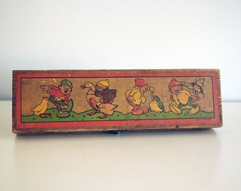 Vintage Wood Pencil Box German Woodworking Rustic Home Decor Storage Container School Supplies Gnomes Dwarf Birds Comic Illustration