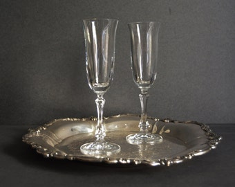 Vintage Champagne Glasses {Wedding Toast Flutes Set of 2 Gift Bride Groom Pair of Toasting Midcentury Drinkware Barware Cocktail Bar Cart}