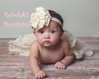 Ivory Baby Headband, Infant headband, double ruffle headband, hair bows for girls, Baptism headband, Cream baby headband, ivory hair bow