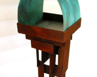Bird Feeder Modern Build series bird feeder No. 20 in patina steel and copper