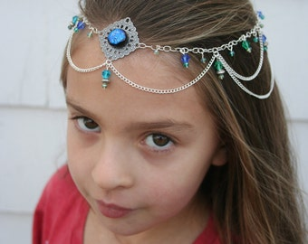 Lady of the Oceans Circlet - Silver, Blue, Green, Iridescent - Belly Dance, Wedding, Renaissance or Costume Accessory