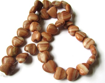12mm Natural Red Malachite Beads Heart Beads Full Strand Beads Striped Beads Gemstone Beads Destash Beads jewelry making