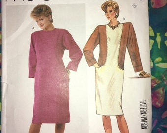 """Uncut Hard to Find McCall's Sewingn Pattern No. 2775 - out of print and rare Misses' 80s Straight Dress - Size 10 Bust 32.5"""""""