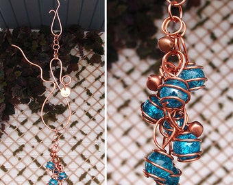 Glass & Copper Wind Chimes / Gypsy Windchime Garden Art Suncatcher Yard/Lawn/Outdoor Decor