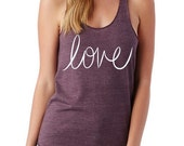 LOVE cursive Girls Heathered Tank Top Shirt screenprint Alternative Apparel