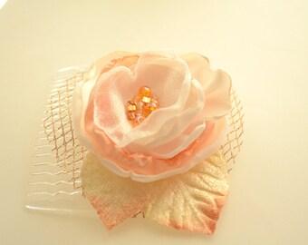 Bridal Winter Wedding Holiday Flower Hair Comb * Flower Clip * Ivory & Peach Flower Velvet Leaves Gold Tulle  * READY TO SHIP *