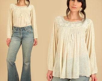 Indian Gauze Crochet Tunic ViNtAgE 70's Deadstock Cream Cotton Babydoll Top Shirt BoHo HiPPiE Blouse Small S Medium M