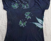 M women's batik Lotus and Butterflies scoop neck Medium