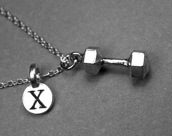 Barbell necklace, Dumbbell necklace, dumb bell necklace, dumbbell charm, weightlifting necklace, initial charm, personalized charm, monogram