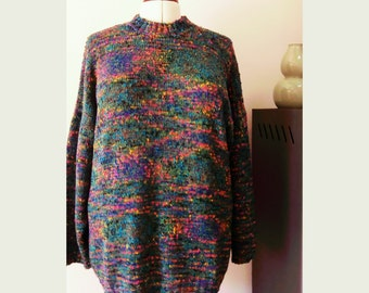Oversized multicolor Missoni yarn hand-knitted sweater, vintage mid 90s