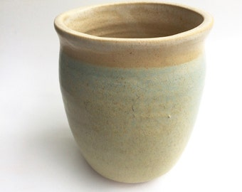 handmade green and tan ceramic vase,oval shape/ pottery,  container,   decorative and functional handmade, in stock