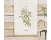 ON SALE Mistletoe Study - 2015 Limited Holiday collection - large wall hanging, wood trim and printed on textured cotton canvas.