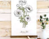 Anemone Study - Botanical watercolor wall hanging, wood trim art printed on textured cotton canvas. Vintage Scientific Poster chart