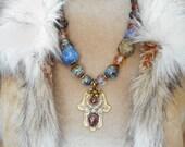 Tribal Bohemian Hand of Fatima, Khamsa, hamsa with artisan glass beads one of a kind