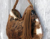 Brindle Hair On Cowhide Leather Hobo Bag by Stacy Leigh