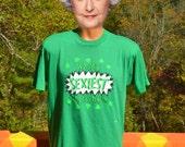 vintage 80s t-shirt sexiest LEPRECHAUN shamrocks green soft thin tee Large XL st patricks day wtf