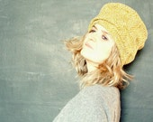 Mustard Herringbone Wool Tweed Hat with Liberty of London Lining