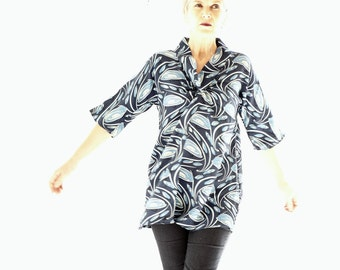 Liberty of London Blue Silk Crepe Tunic Top