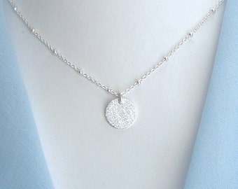Sterling silver  disk necklace with satellite chain