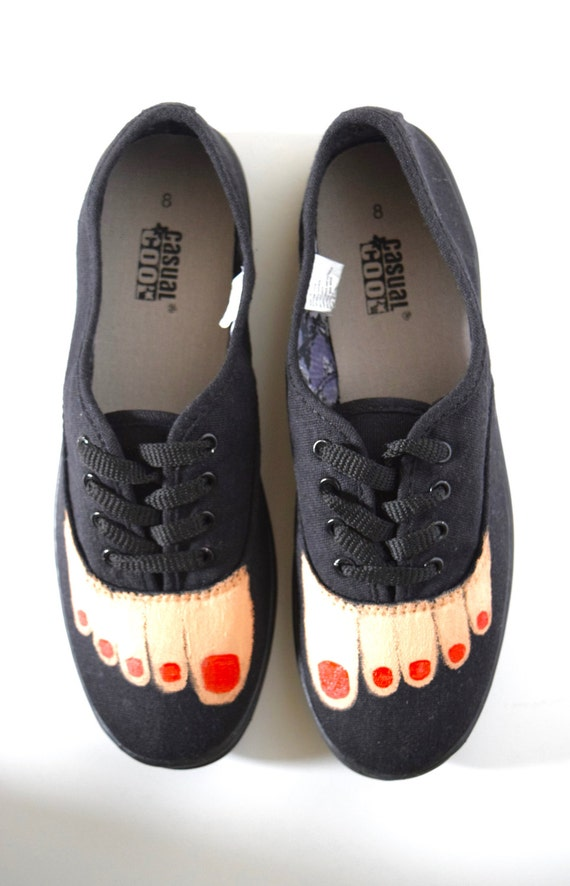Hand Painted Bare Feet Lace Up Sneakers in Black Canvas (size 8)