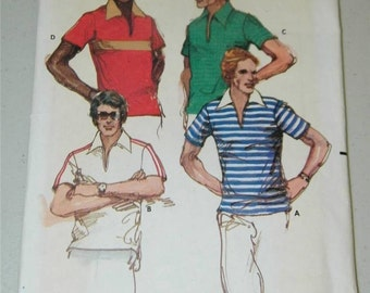 Vintage Butterick 5936 Mens Shirt Pattern Size 42 1970's 11511