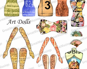 Altered art paper dolls digital collage sheet torso legs arms Digital Collage Sheet Download Graphics No.106