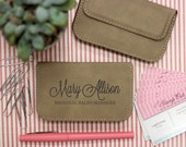 Soft Light Brown Business Card Holder, Leather Card Holder Personalized --32001-BC02-109