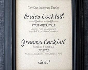 UNFRAMED Cocktails Wedding Sign, Signature Cocktails, Wedding Signage, Drinks Menu, Bar Menu, Bride Drink, Groom Drink, Etsy Weddings