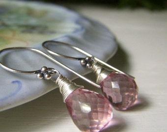 Blush Quartz Earrings, Rosy Quartz Gemstone Earrings, Wirewrapped Minimalist Dangle, Antique Pink Teardrop Earrings, Short Sterling Earrings