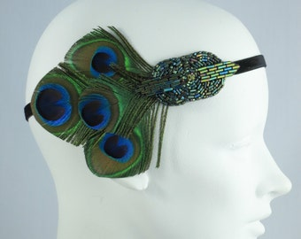 Peacock Feather Headband 1920s Flapper Emerald Green