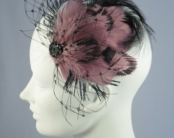 Belle Epoch Feather Hair Clip Black Veil And Dusty Mauve Flapper Headpiece OOAK