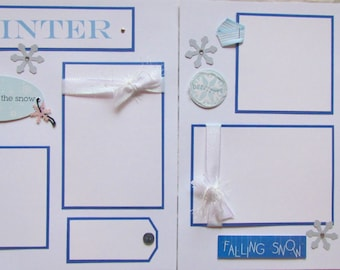 Scrapbook Pages 12x12 premade -- WINTER -- playing outside, enjoying the outdoors, building a snowman, snow is falling