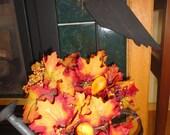 Prim Black Crow on Dowel Plant Poke Halloween Autum Decor Reclaimed Wood